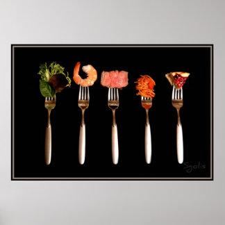 Alimentos no poster das forquilhas (preto)