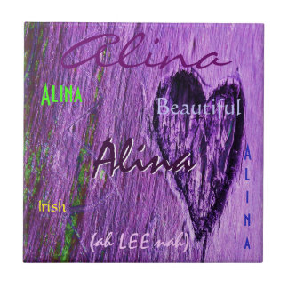 Alina Name Irish Meaning with Purple Heart Ceramic Tile
