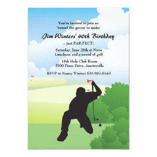 Alinhando o convite do tiro de golfe