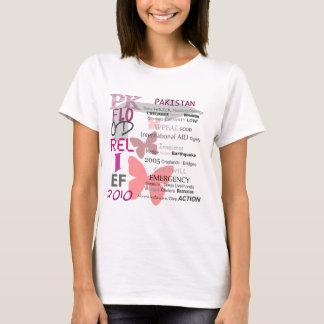 Alivio da inundação de Paquistão - rosa & branco Camiseta
