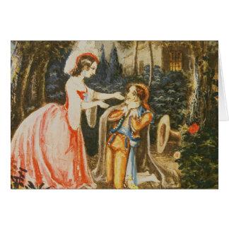 Almaviva ajoelha-se antes de sua esposa no contrit cartão comemorativo
