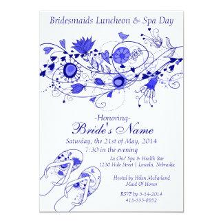 Almoço da dama de honra dos azuis marinhos & convite personalizado