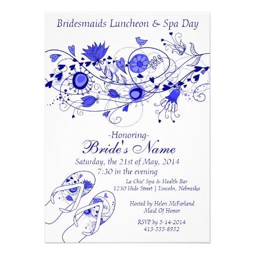 Almoço da dama de honra dos azuis marinhos & terma convite personalizado