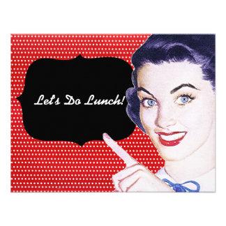 almoço da mulher apontando dos anos 50 convites personalizados
