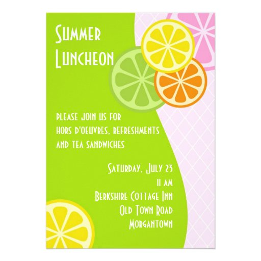 Almoço do verão do citrino convites personalizados