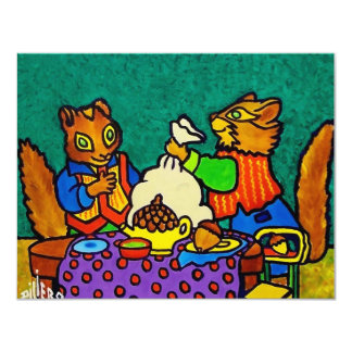Almoço dos esquilos por Piliero Convite 10.79 X 13.97cm