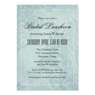 Almoço nupcial do damasco azul elegante convite 12.7 x 17.78cm