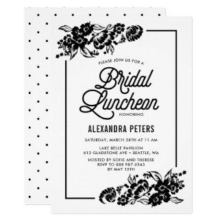 Almoço nupcial floral moderno preto & branco convite 12.7 x 17.78cm