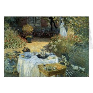 Almoço por Claude Monet, impressionismo do vintage Cartão Comemorativo