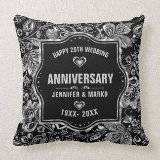 Almofada 25o Preto do aniversário de casamento e design da