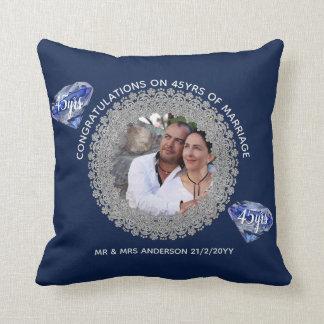 Almofada 45th Aniversário de casamento - ADICIONE o azul da
