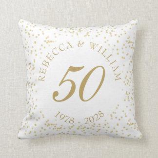 Almofada 50th Confetes da poeira de ouro do aniversário de