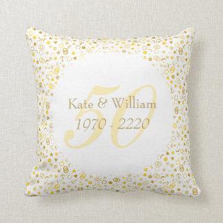 Almofada 50th Confetes do ouro do aniversário de casamento