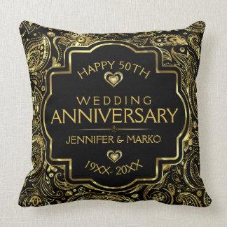 Almofada 50th Preto do aniversário de casamento e design do