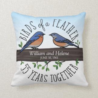 Almofada 55th Aniversário de casamento, Bluebirds de uma