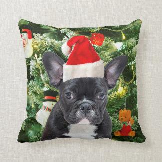 Almofada A árvore de Natal do buldogue francês Ornaments o