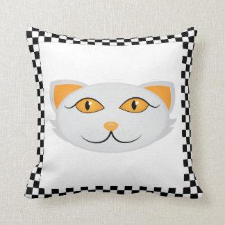 Almofada A cara do gato branco com beira Checkered