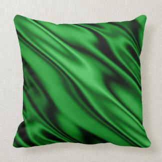 Almofada A diagonal do cetim do falso do verde esmeralda
