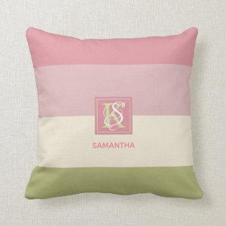 Almofada A paleta de cores do verde do rosa do creme listra