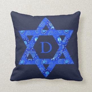 Almofada A sala do menino judaico azul da estrela de David
