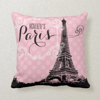 Almofada A torre Eiffel à moda de Paris adiciona o nome e o
