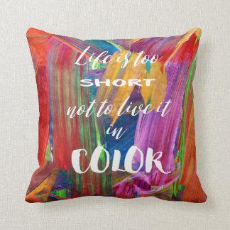Almofada A vida é moderna abstrato colorido demasiado curto