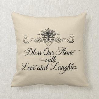 Almofada Abençoe nossa casa com travesseiro decorativo do
