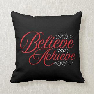 Almofada Acredite e consiga o travesseiro decorativo preto