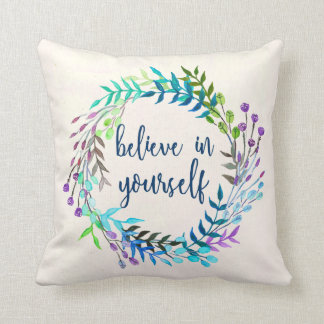 """Almofada """"Acredite em o senhor mesmo"""" citações inspiradas"""