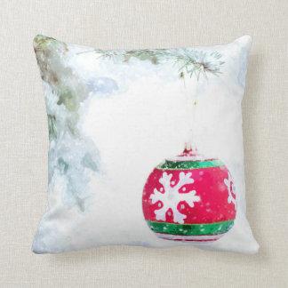 Almofada Aguarela branca da neve dos enfeites de natal