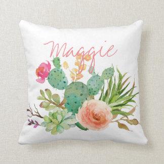Almofada Aguarela chique floral, cacto personalizado