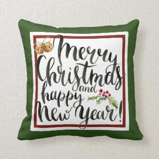 Almofada Aguarela do Natal | - citações do feliz ano novo