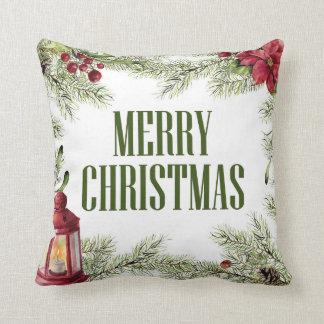 Almofada Aguarela do Natal | - quadro do azevinho & da vela