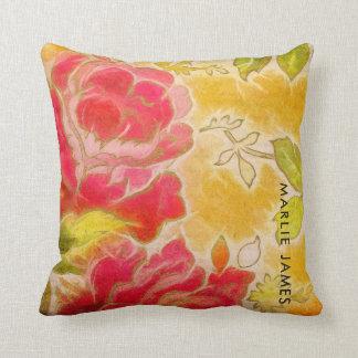 Almofada Aguarela feminino floral do rosa do vintage com