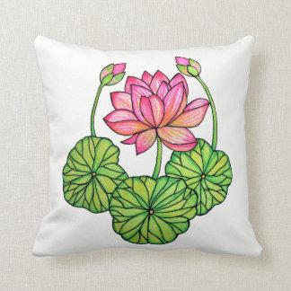 Almofada Aguarela Lotus cor-de-rosa com botões & folhas