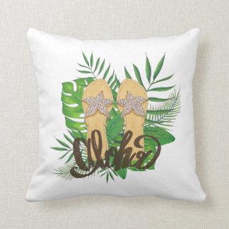 Almofada Aloha mão das folhas de palmeira da pintura da mão