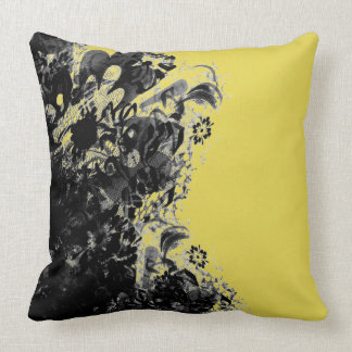 Almofada Amarelo exterior do preto do laço da flor de coxim