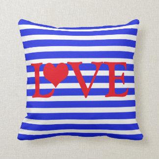 Almofada Amor branco & azul vermelho listrado com coração
