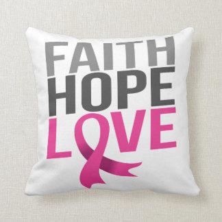 Almofada Amor cor-de-rosa da esperança da fé do cancro da