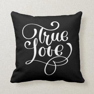 Almofada Amor verdadeiro preto & Wedding branco da