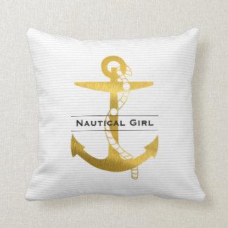 Almofada Âncora dourada com a menina náutica da corda |