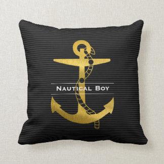 Almofada Âncora dourada com o menino náutico da corda |
