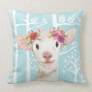 Almofada Animal feliz com as flores no Floresta-Carneiro