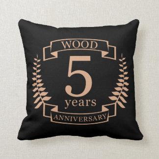 Almofada Aniversário de casamento de madeira 5 anos