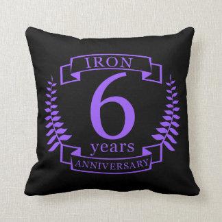 Almofada Aniversário de casamento do ferro 6 anos
