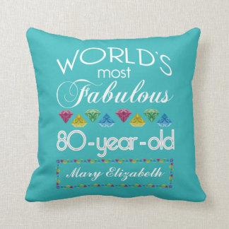 Almofada aniversário do 80 a maioria de turquesa colorida