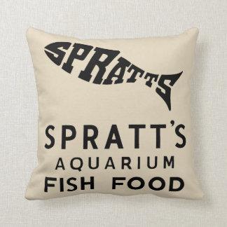Almofada anúncio da comida de peixes do vintage