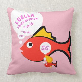 Almofada Anúncio do nascimento dos peixes do bebê dos