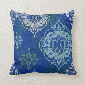 Almofada Aqua marroquino boémio do azul da aguarela do
