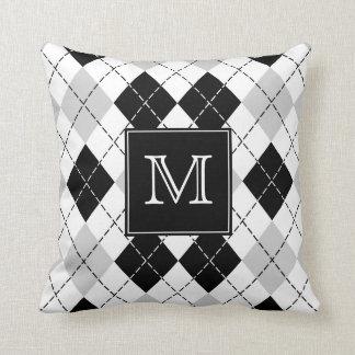 Almofada Argyle preto e branco cinzento Monogrammed